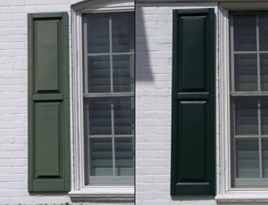Vinyl shutter restoration window cleaning company york pa pressure washing company york pa for Labor cost to install exterior shutters